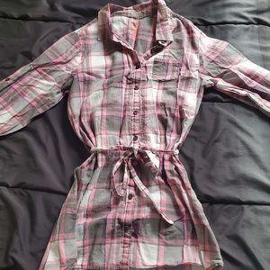 girl 14/16 pink/gray plaid dress